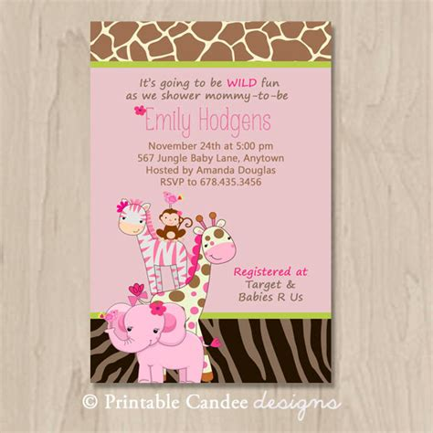 Etsy Baby Shower by Items Similar To Pink Jungle Baby Shower Invitation Diy