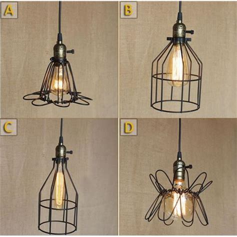 winsoon industrial metal cage guard wrought iron shape industrial pendant light fixtures industrial hanging pendant light with barn shape mercury glass