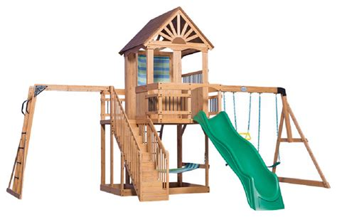 backyard discovery oceanview all cedar wood playset
