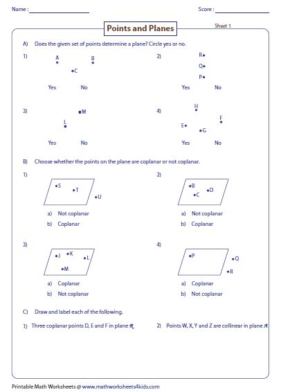 plain and worksheets points lines and planes worksheets