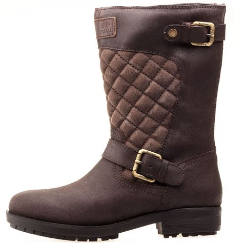 womens brown biker boots barbour international shadow quilt womens biker boots in brown