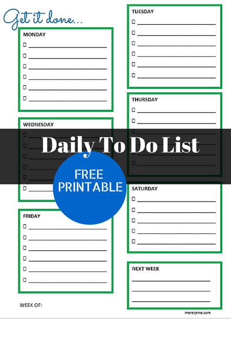 Get It Done Daily To Do List And Free Printable Meredith Rines Daily To Do List Template