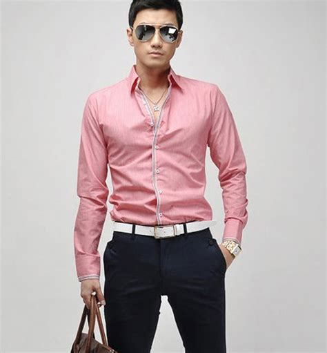 Top Slim Fitting Ori mens korean plain slim fit sleeve button front top casual dress shirt ebay