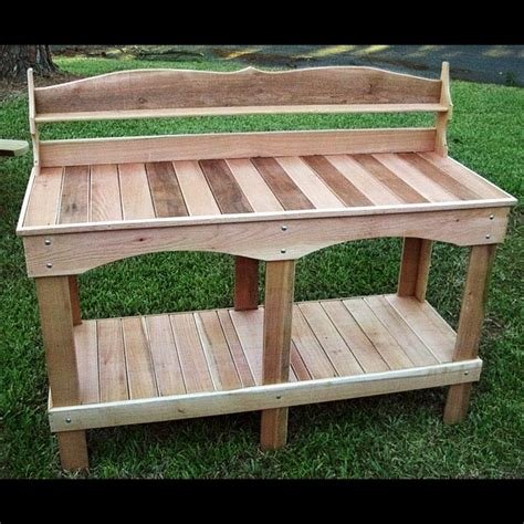 outdoor potting benches cedar garden potting table planter work potters bench
