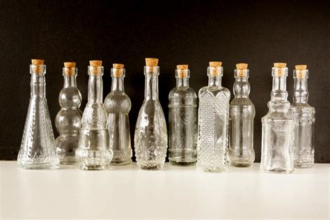 decorative clear glass bottles with corks 5 set