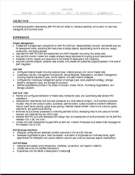 100 sap mm testing resume resume for sap abap fresher free resume exle and writing