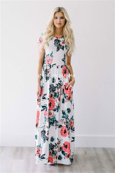 Flowery Dress Maxi white watercolor floral maxi modest dress best and