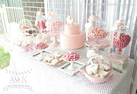Baby Shower Candy Buffet Table by Michelle S Pretty In Pink Baby Shower