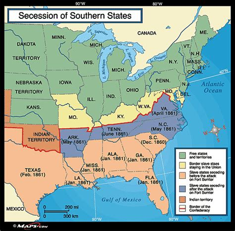 southern states map secession of southern states map 1861 by maps from maps world s largest map store