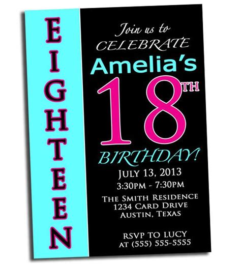 18th birthday invitation templates free 18th birthday pink black and cyan printable