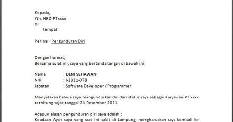 contoh surat pengunduran diri resign yang baik dan benar