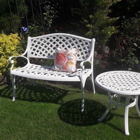 white garden bench uk white jasmine metal lattice garden bench lazy susan