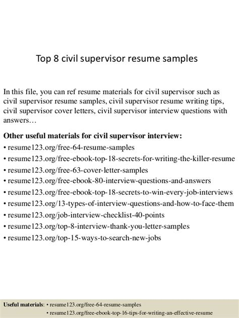 civil supervisor resume format civil supervisor resume format resume ideas