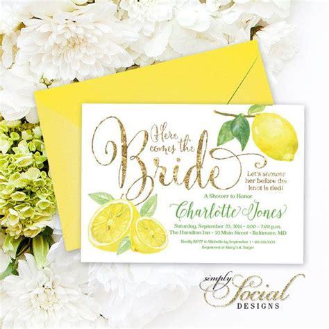 lemon bridal shower invitation fresh lemon and gold - Lemon Themed Wedding Invitations