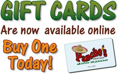 Online Gift Cards For Restaurants - restaurant gift cards pancho s mexican restaurant