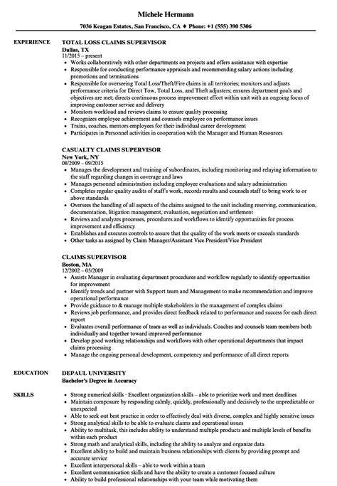 Claims Manager Resume by Claims Supervisor Resume Sles Velvet