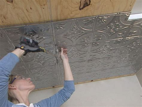 Ceiling Tile Installation How To Install A Sted Tin Ceiling How Tos Diy