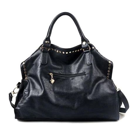 Faux Leather Slingbag womens shoulder bag rivet shopping big bag slingbag faux