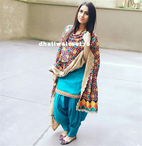 punjabi suits sky blue suit with unique phulkari design punjabi suits
