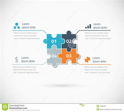 puzzle piece infographic options business concept stock