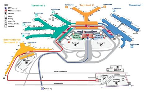 airport map chicago o hare international airport terminal map for ord