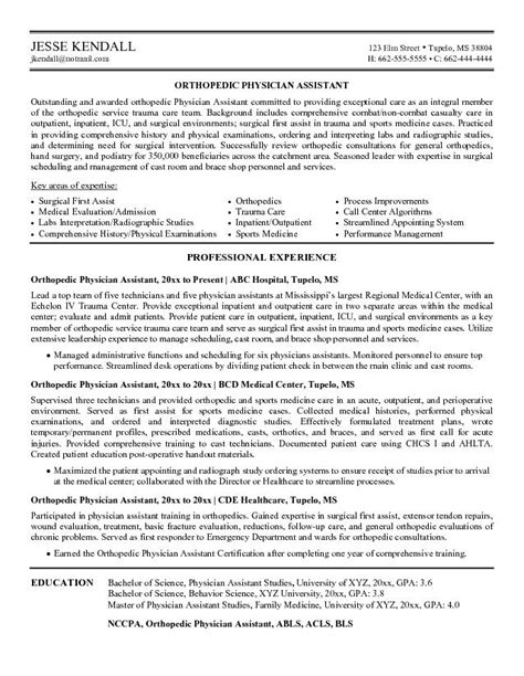 Pa Resume by Physician Assistant Resume Physician Assistant Resuem Sle