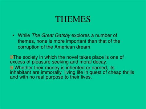 themes in the great gatsby sparknotes theme of materialism in the great gatsby ppt f scott