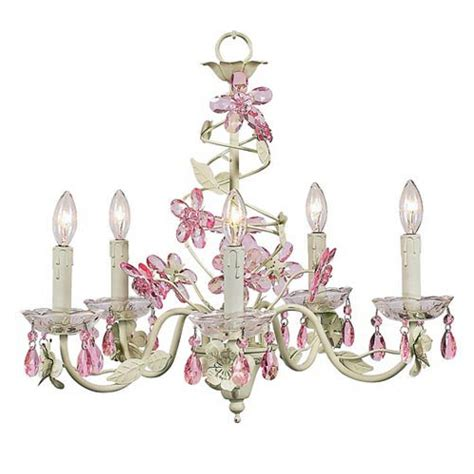 Pink And Green Chandelier Jubilee Collection Flower Soft Green And Pink Five Light Chandelier On Sale