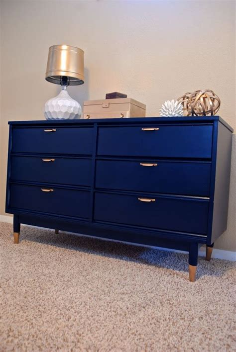 blue dresser gold hardware navy mid century dresser re do with gold dipped legs