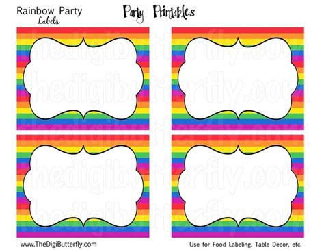 birthday labels template 25 best ideas about rainbow invitations on