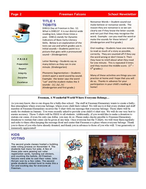 school newsletters templates elementary school newsletter free