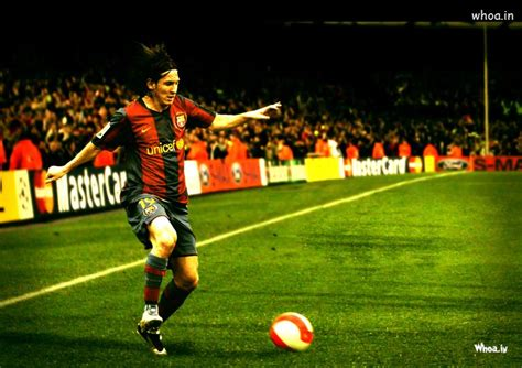 argentina superstar footballer lionel messi kick football
