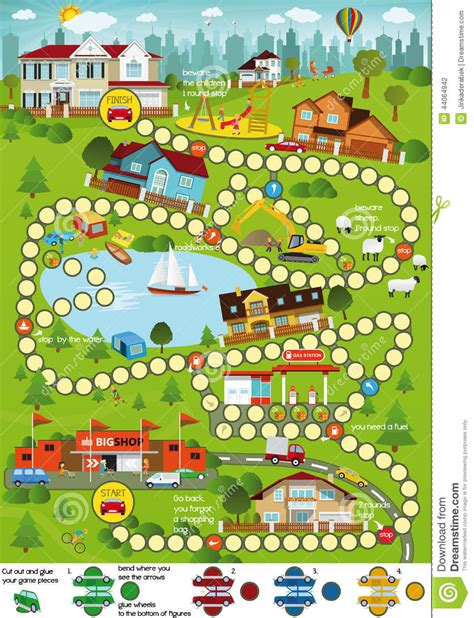 board game layout download board game cartoon city stock vector image 44064942