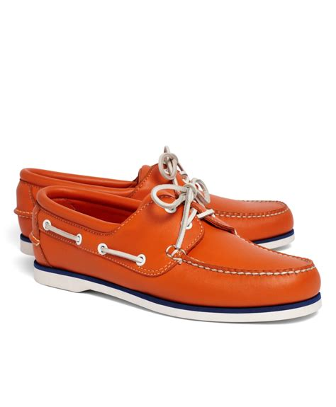 brothers shoes brothers mid sole boat shoe in orange for lyst
