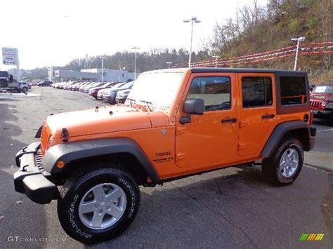 jeep wrangler orange and black 2013 crush orange jeep wrangler unlimited sport s 4x4