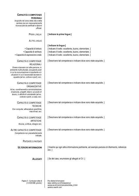 Formato Europeo Curriculum Vitae Pdf Il Formato Europeo Per Compilare Il Curriculum Vitae