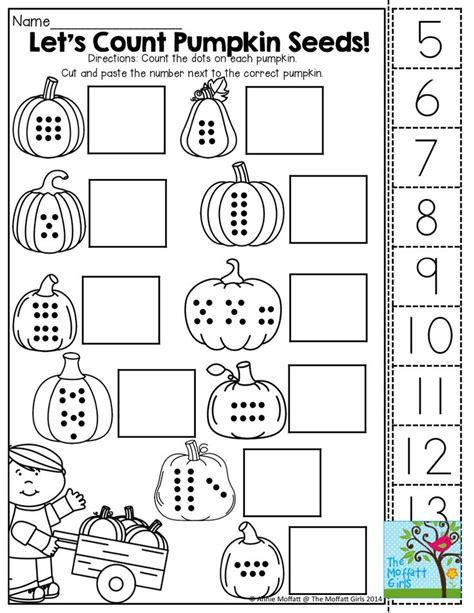 Cut And Paste Fall Worksheets by Counting Pumpkin Seeds Cut And Paste Math