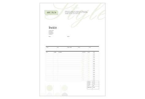 spa receipt template hair salon pro template pack from serif