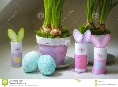 homemade easter decorations for the home easter decorations homemade bunnies eggs flowerpots stock image image of bunnies children