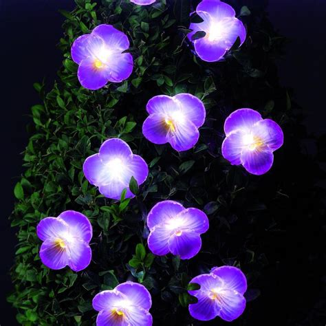 Patio Lights Flower Solar Powered Garden Lights 10 Pack Pink Flower Led Easy