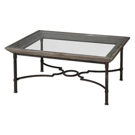 Iron And Glass Coffee Table Uttermost Huxley Rectangle Weathered Iron And Glass Top Coffee Table Coffee Tables At Hayneedle