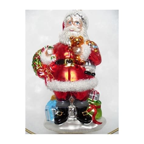 red santa glass handmade christmas baubles decorations