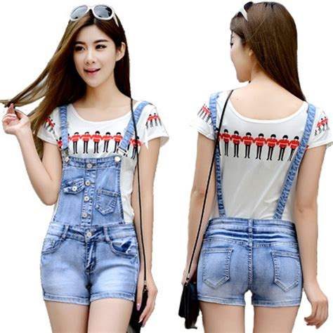 Fox Denim Overall Romper jumpsuits shorts with model inspirational playzoa