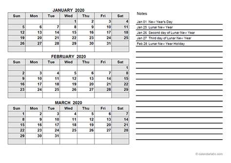 hong kong quarterly calendar template  printable templates