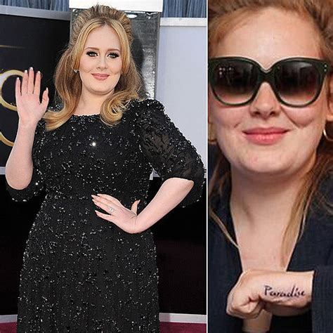 adele hand tattoo adele got a of the word quot paradise quot on left
