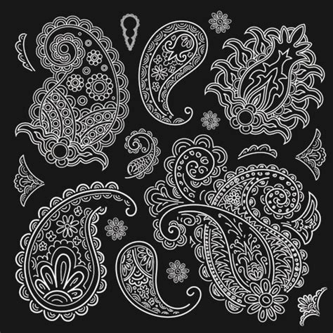 paisley pattern vector ai set of black and white paisley pattern vector graphics 03