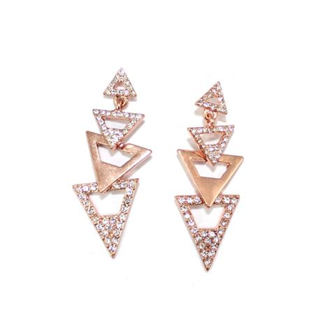 Triangle Statement Earrings pave gold triangles dangle statement earrings