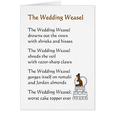 Wedding Card Rhymes by The Wedding Weasel A Wedding Poem Card Zazzle
