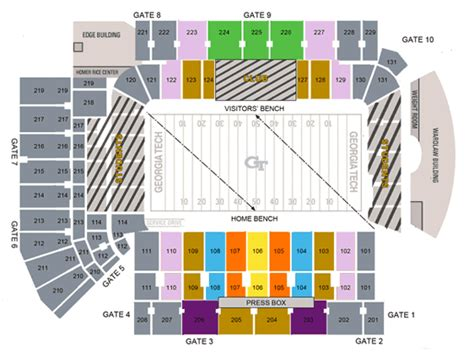 tech stadium seating capacity litchford bobby dodd stadium seating chart