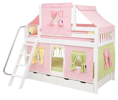 bunk beds tents pink green and yellow tent bunk bed in white by maxtrix